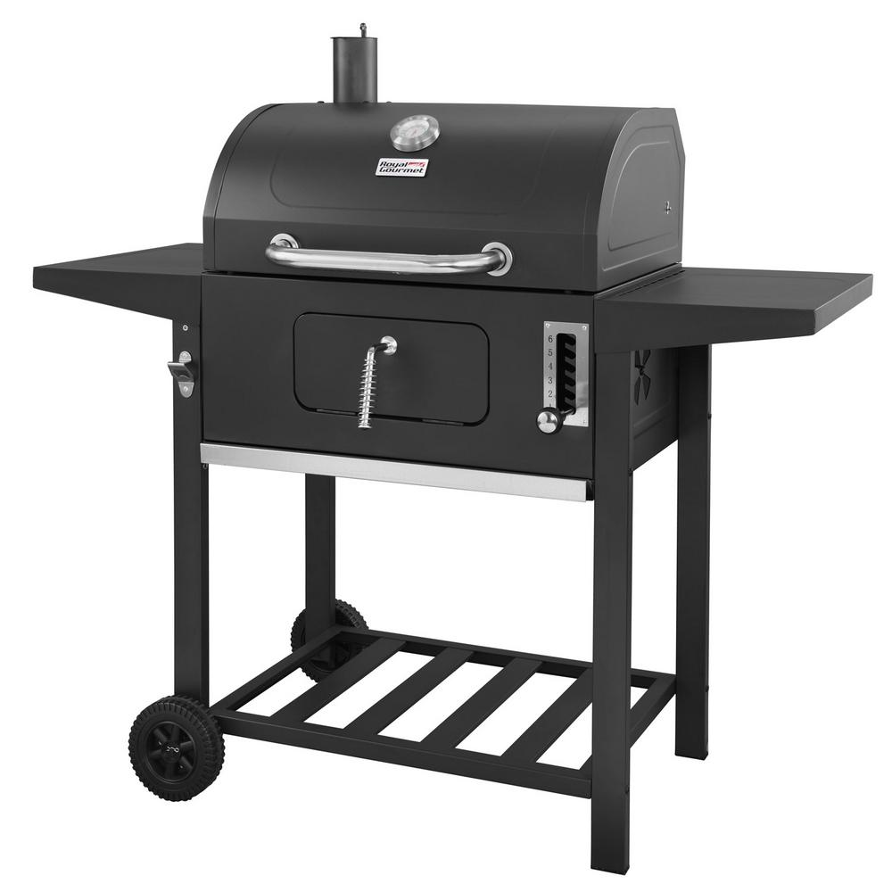 Charcoal Bbq Royal Gourmet 24 In Bbq Charcoal Grill In Black With 2 Side Table