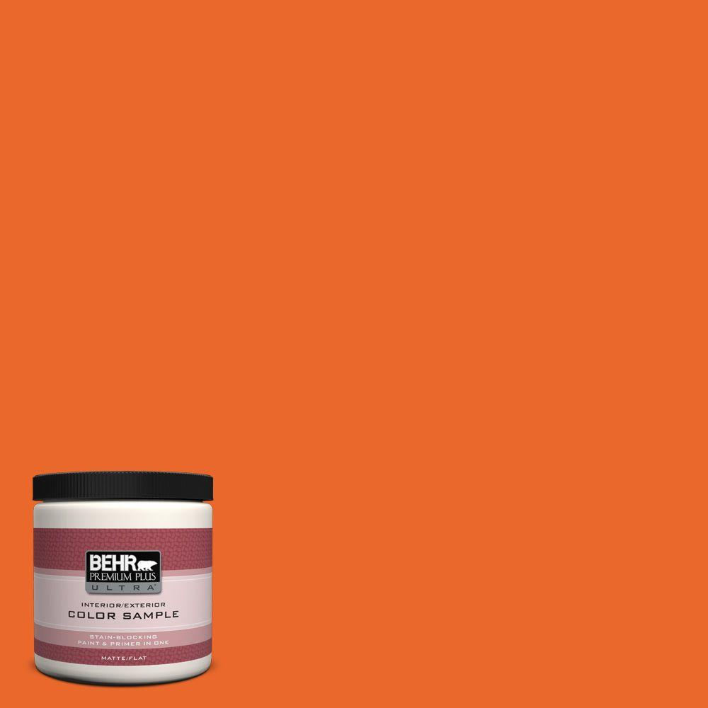 Orange Exterior Paint Behr Premium Plus Ultra 8 Oz 220b 7 Electric Orange Matte Interior Exterior Paint And Primer In One Sample