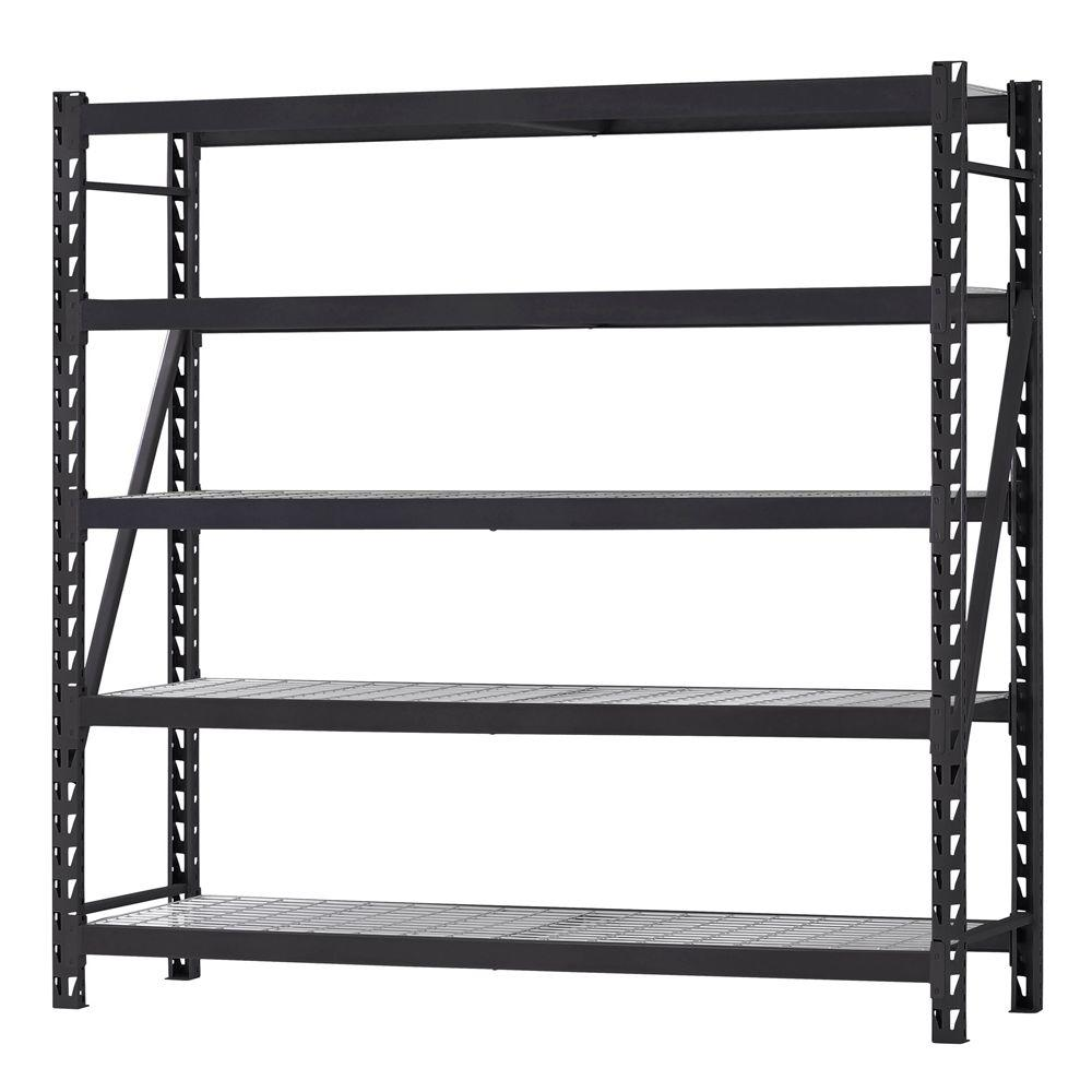 Metal Shelving Husky 90 In W X 90 In H X 24 In D 5 Shelf Welded Steel Garage Storage Shelving Unit With Wire Deck In Black