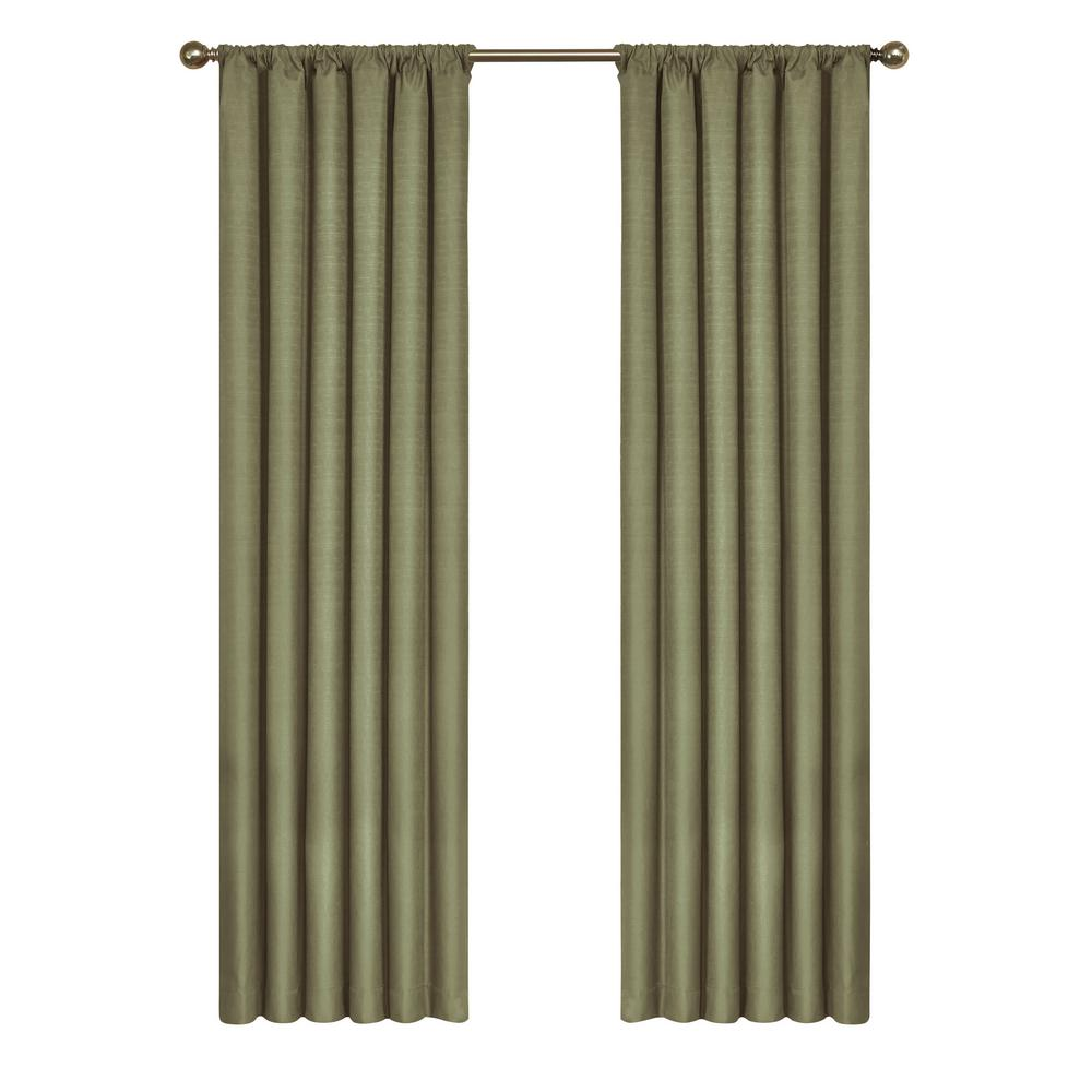 Lemon Green Curtains Eclipse Kendall Blackout Window Curtain Panel In Artichoke 42 In W X 84 In L