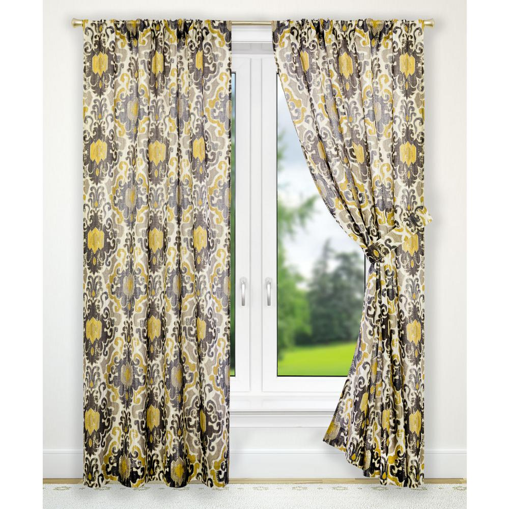 Draping Curtains Tuscany Black Polyester Tailored Pair Curtains With Tiebacks 70 In W X 63 In L