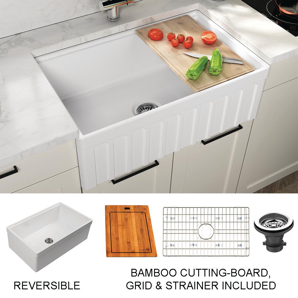 Empire Industries Yorkshire Farmhouse Fireclay 30 In Single Bowl Kitchen Sink With Cutting Board Grid Strainer In White Yo30 The Home Depot