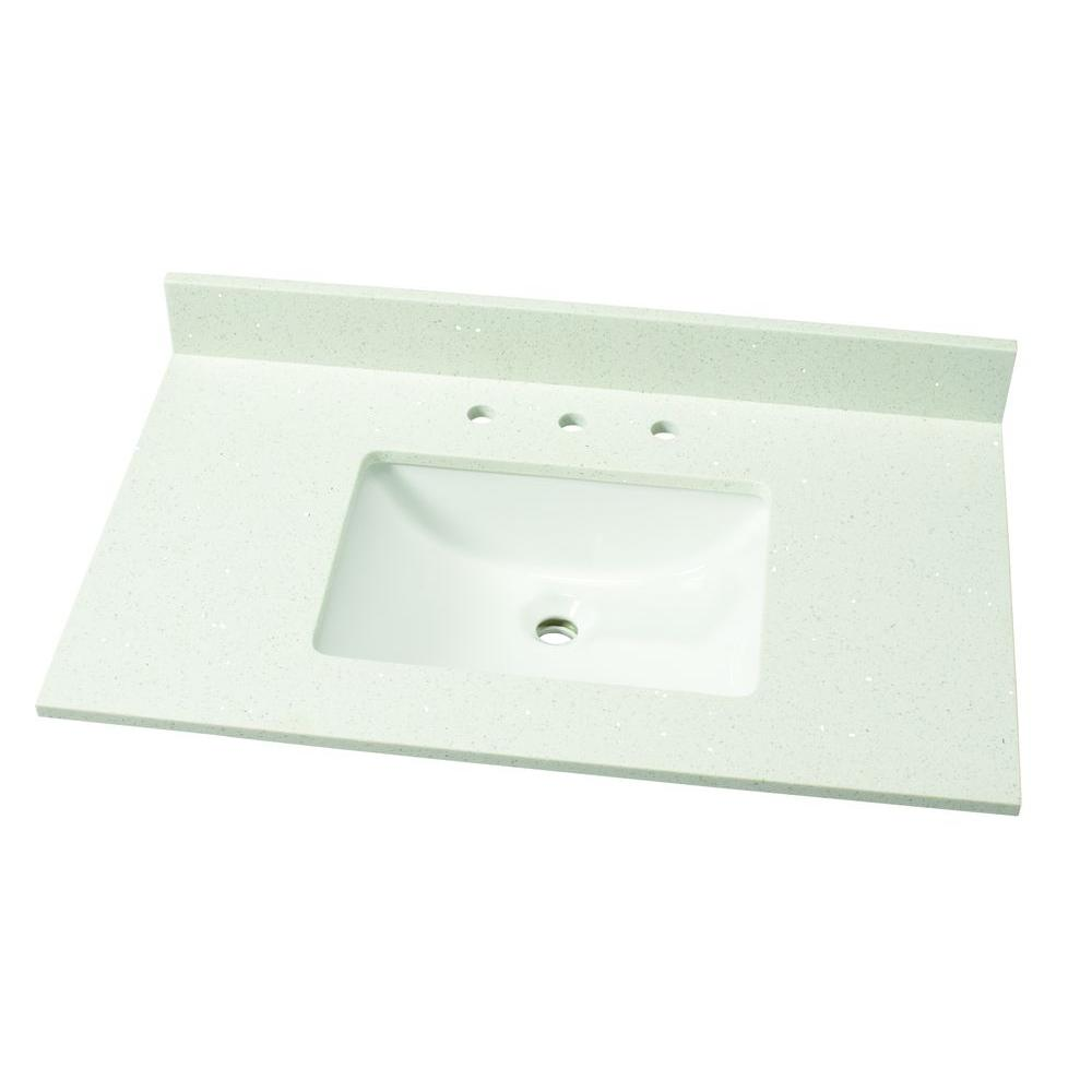 Magasin De Deco Qwartz Msi 37 In W Quartz Single Vanity Top In Sparkling White With