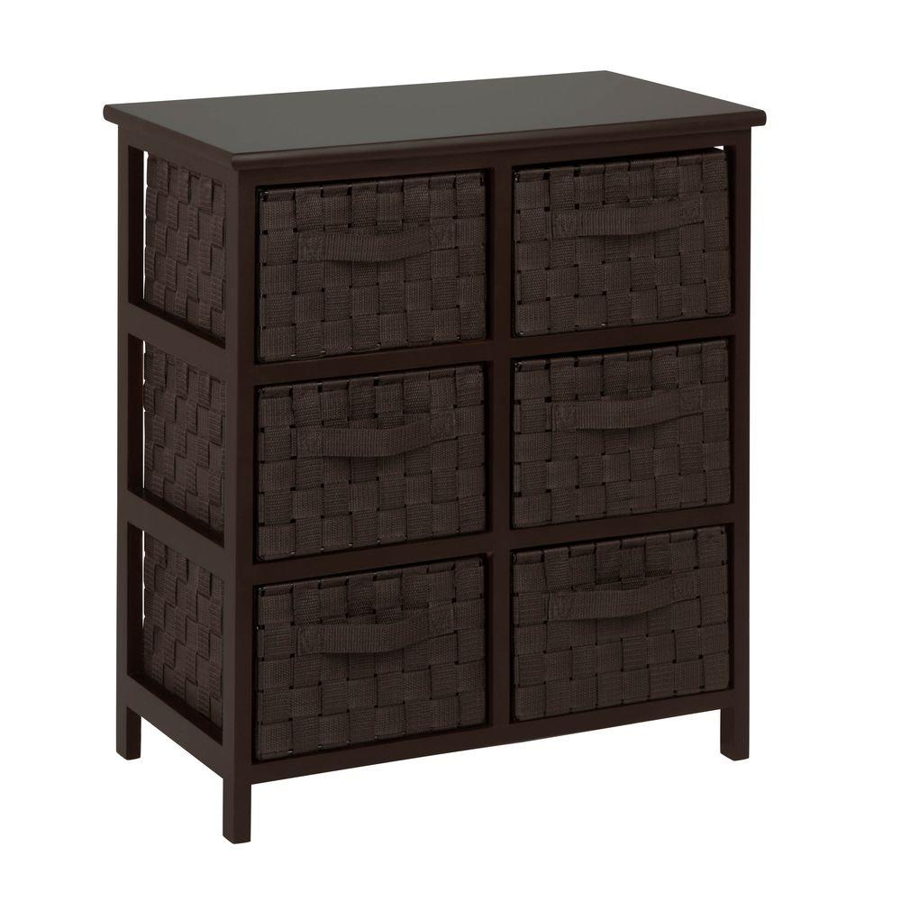 6 Drawer Chest Of Drawers Honey Can Do 24 Woven 6 Drawer Storage Chest Espresso