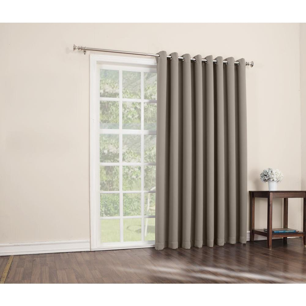 Double Wide Curtain Panels Sun Zero Blackout Gavin 84 In L Extra Wide Blackout Patio Panel In Stone