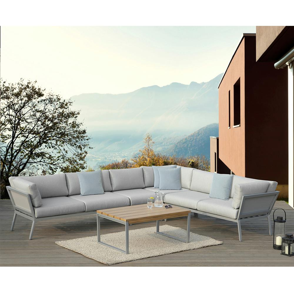 Conrad 3 Seater Sofa Ove Decors Conrad Grey 5 Piece Aluminum Outdoor Sectional Set With Olefin Grey Cushions