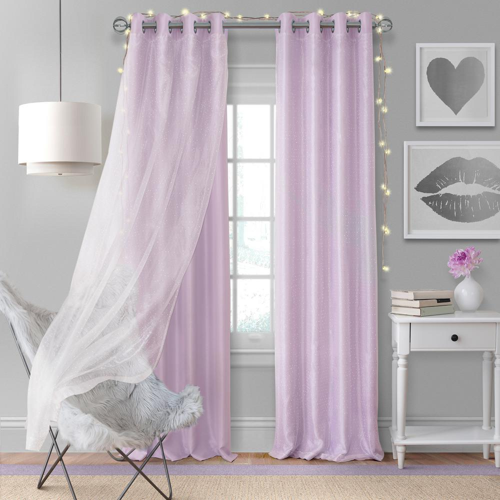 Lavender Sheer Curtains Elrene Home Fashions Aurora Kids Room Darkening Layered Sheer Window Curtain