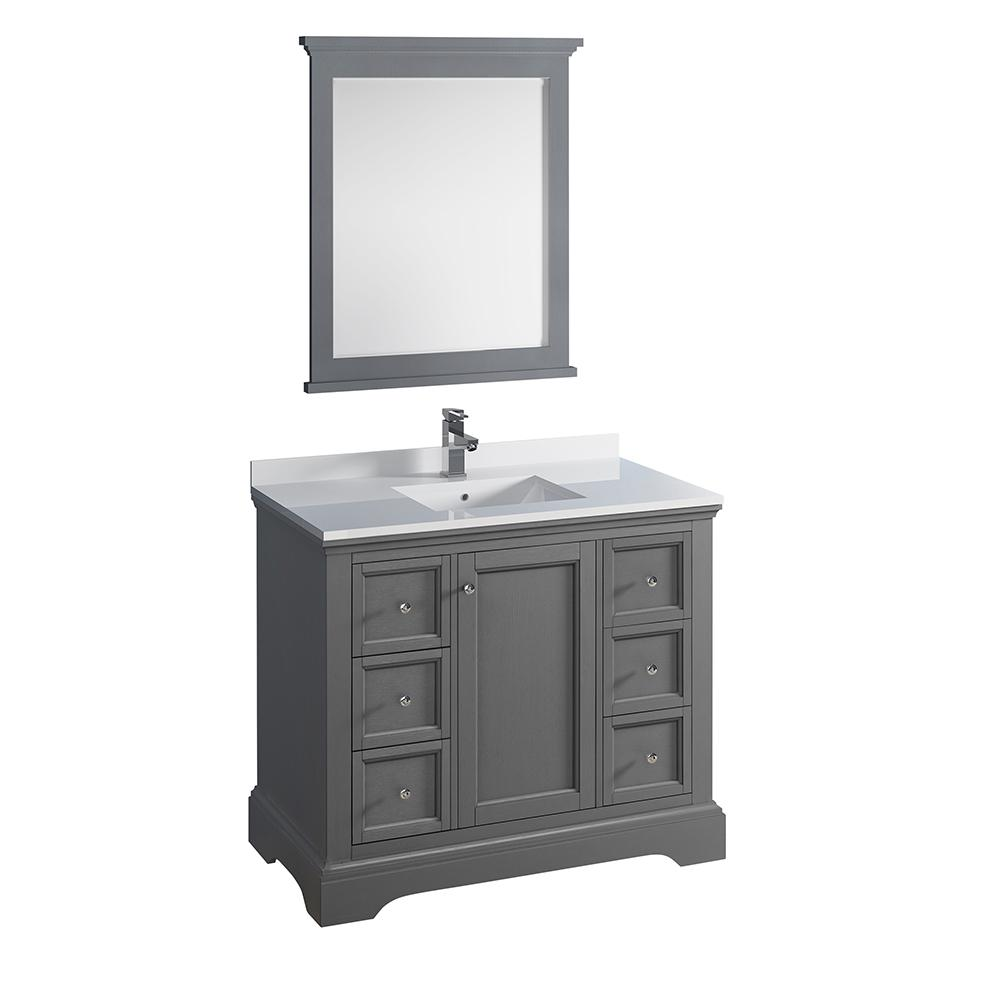 Bathroom Vanities Fresca Windsor 40 In W Traditional Bathroom Vanity In Gray Textured Quartz Stone Vanity Top In White With White Basin Mirror