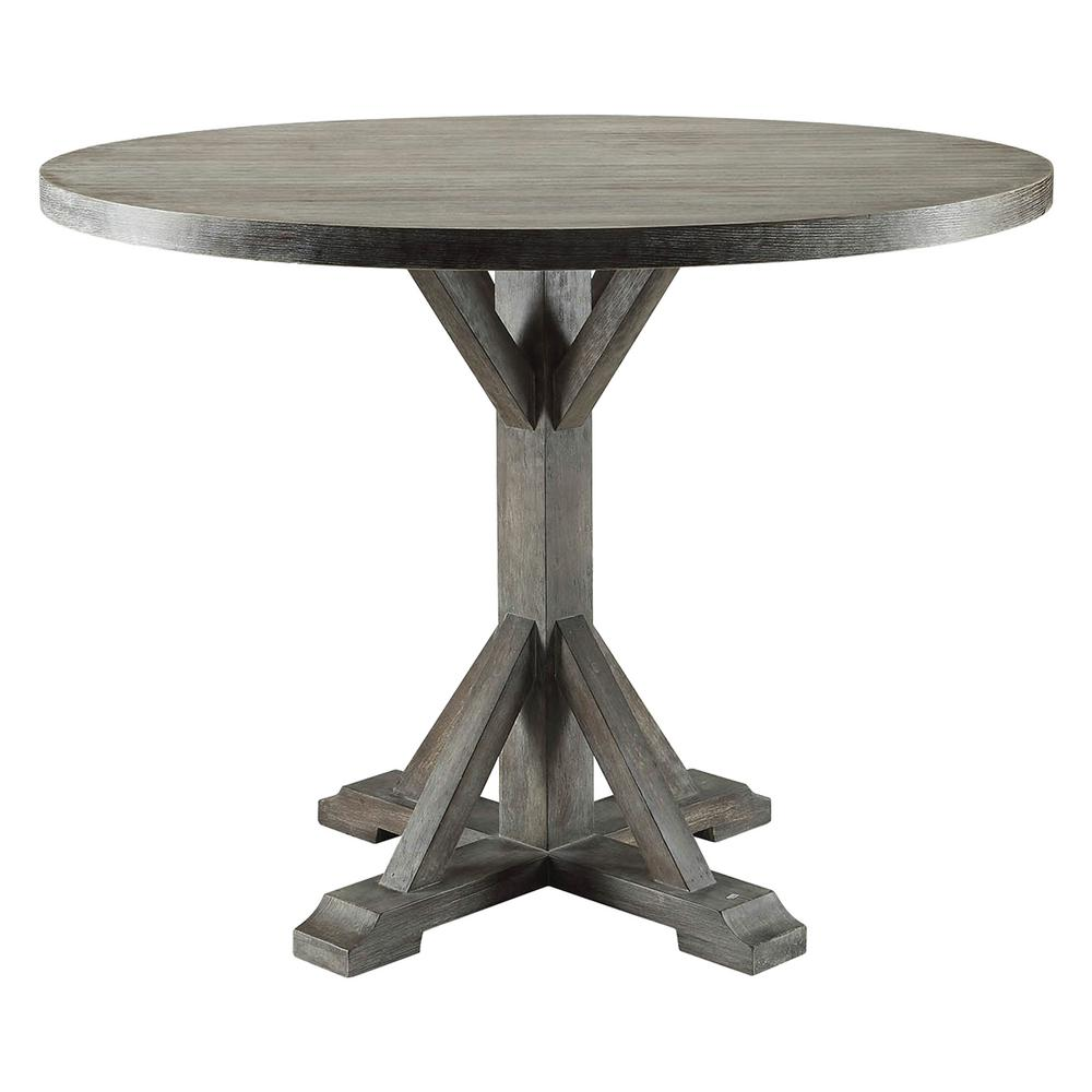 Round Oak Dining Table Carmelina Weathered Gray Oak Dining Table