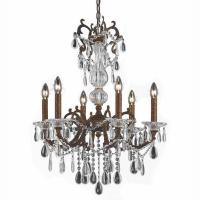 6-Light Bronze Chandelier with Crystal Tear Drop Glass ...