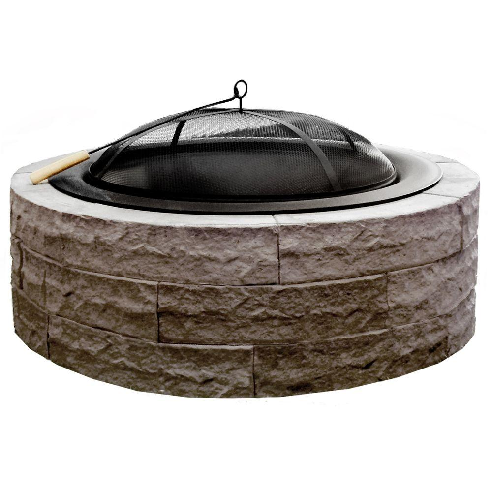 Home Depot Fire Pit 42 In Four Seasons Lightweight Wood Burning Concrete Fire Pit Earth Brown Accessories Included