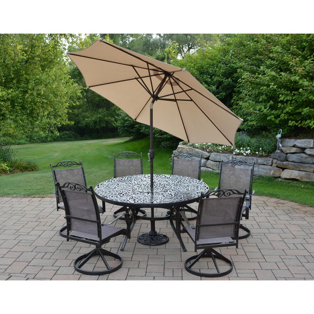 9 Piece Outdoor Dining Set Coffee 9 Piece Aluminum Outdoor Dining Set And Beige Umbrella