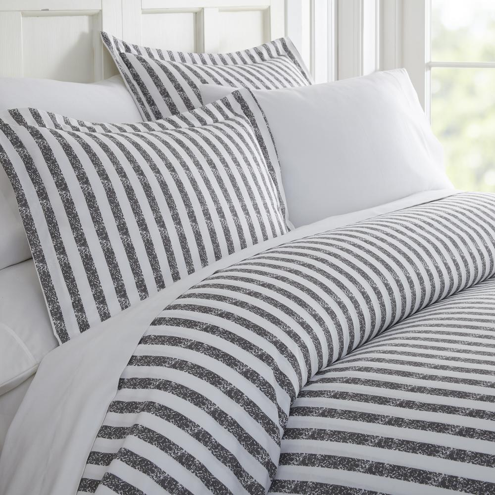 Patterned Duvet Cover Becky Cameron Rugged Stripes Patterned Performance Gray Queen 3 Piece Duvet Cover Set