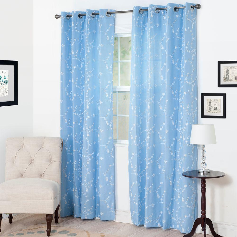 Curtains For A Blue Room Semi Opaque Inas Light Blue Polyester Curtain Panel 54 In W X 84 In L