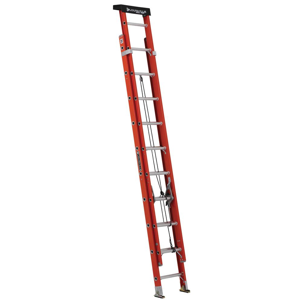 20' Ladder Home Depot Louisville Ladder 20 Ft Fiberglass Extension Ladder W Protop With 300 Lbs Load Capacity Type Ia Duty Rating