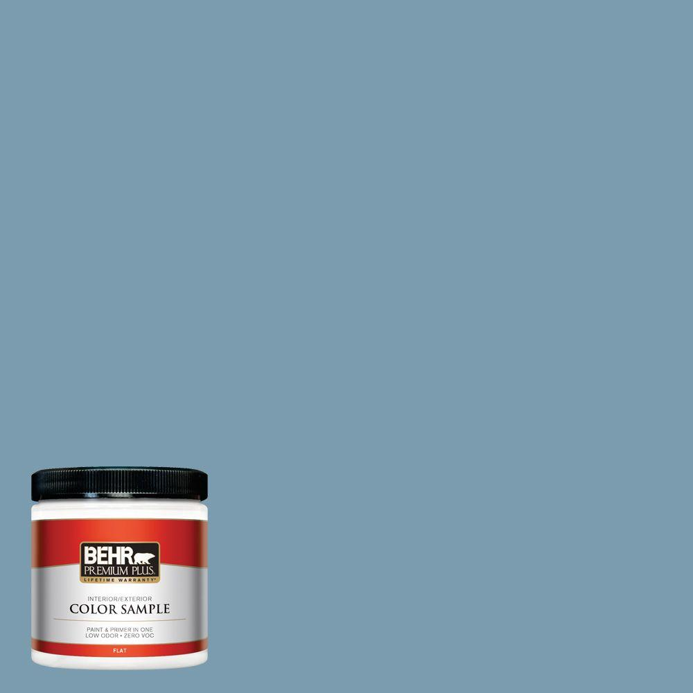 Cool Blue Paint Behr Premium Plus 8 Oz 550f 4 Cool Dusk Flat Interior Exterior Paint And Primer In One Sample