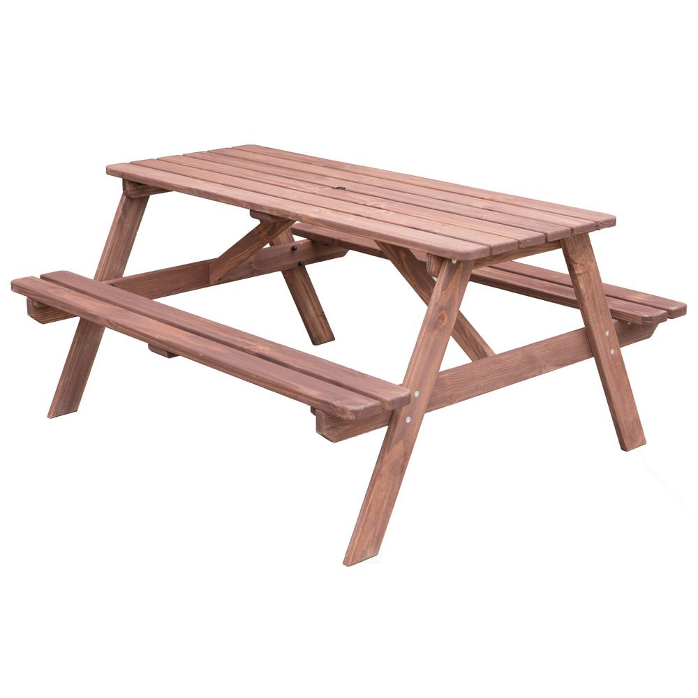 Wooden Bench Table Gardenised Stained Color A Frame Wooden Outdoor Patio Deck Garden Picnic Table