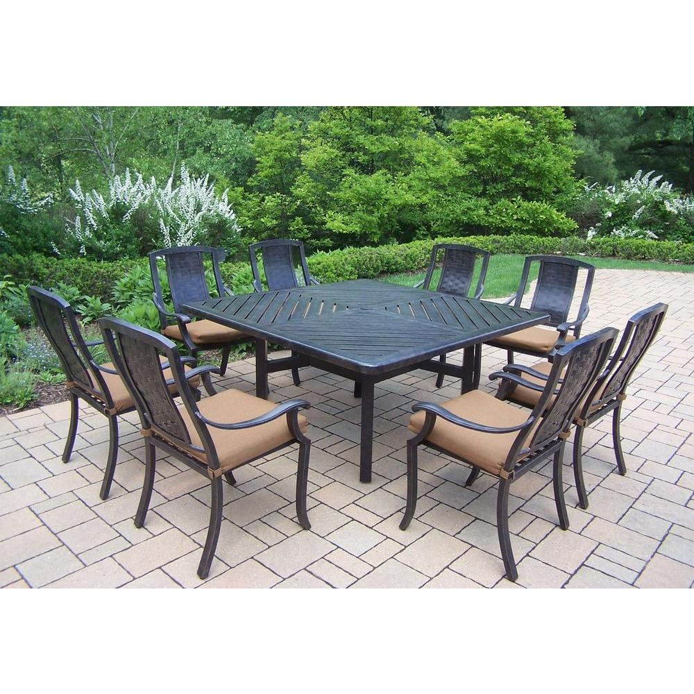 9 Piece Outdoor Dining Set Oakland Living 9 Piece Square Aluminum Patio Dining Set With Sunbrella Canvas Teak Cushions
