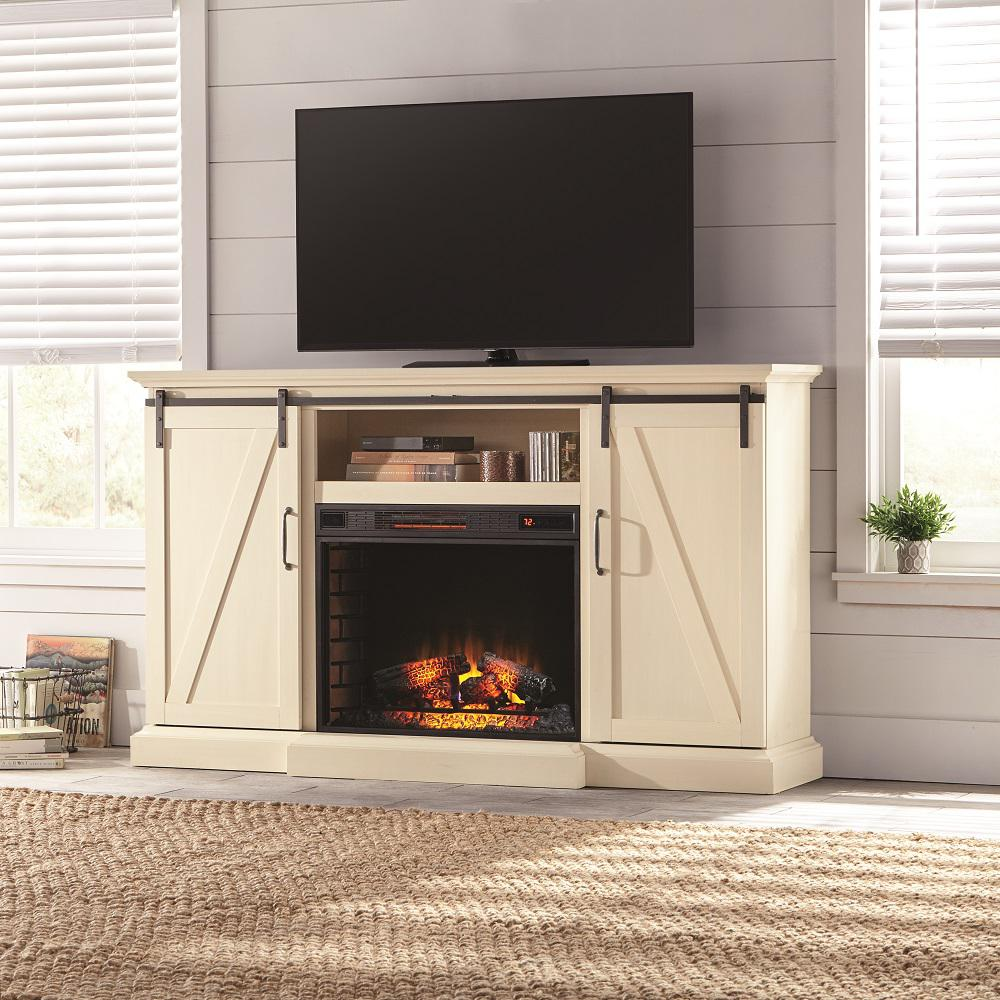 Living Room Electric Fireplace Chastain 68 In Tv Stand Electric Fireplace With Sliding Barn Door In Ivory