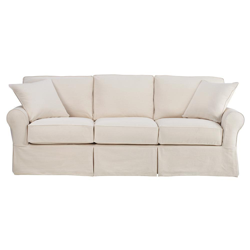 Sofas And Stuff Reviews Home Decorators Collection Mayfair 95 In Classic Natural Twill Fabric Long Sofa