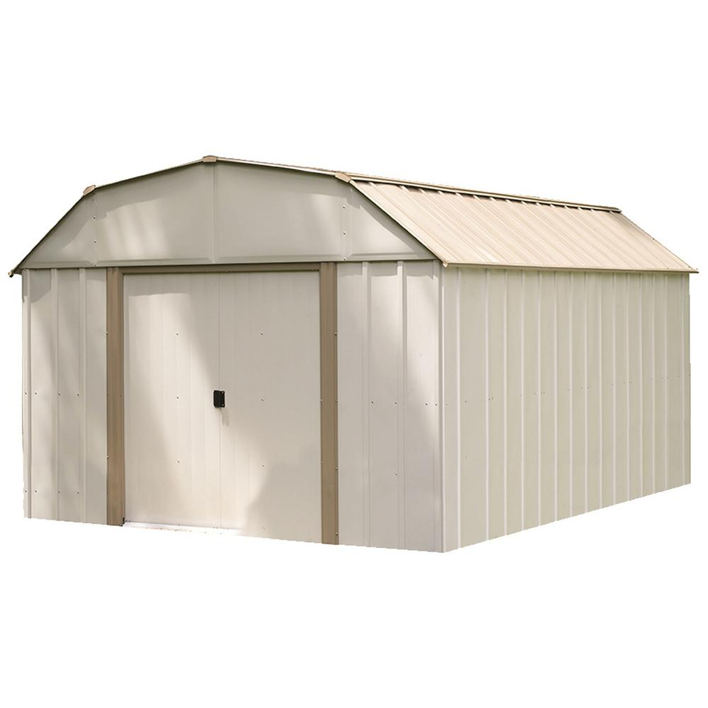 Steel Storage Sheds Arrow Lexington 10 Ft X 14 Ft Eggshell High Gambrel Galvanized Steel Storage Shed