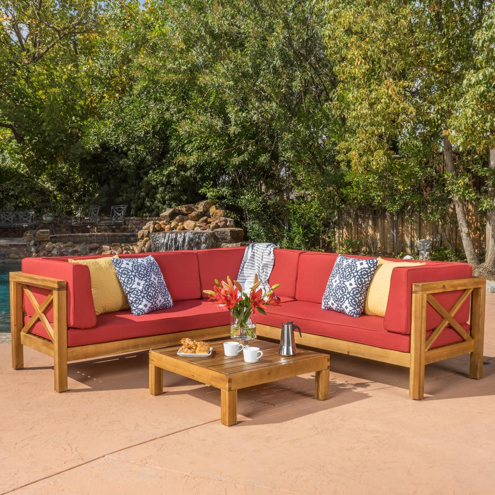 Sofa Take Home Today Noble House Brava Teak Finish 4 Piece Wood Outdoor Sectional Set With Red Cushions
