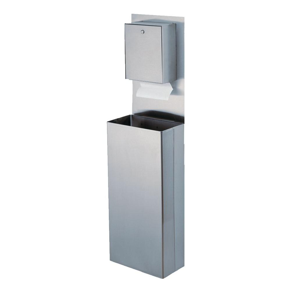 Wall Mount Paper Towel Dispensers Stainless Solutions Wall Mounted Large Towel Waste Bin System In Stainless Steel
