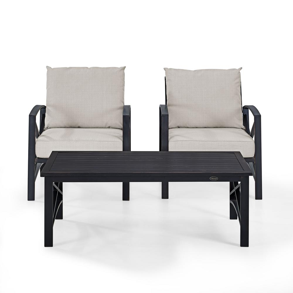 Bz Futon Kaplan 3 Piece Metal Patio Outdoor Seating Set With Oatmeal Cushion 2 Outdoor Chairs Coffee Table