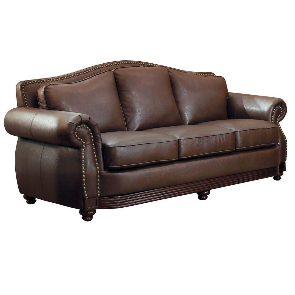 Leather Living Room Furnitures Homesullivan Kelvington Chocolate Leather Sofa