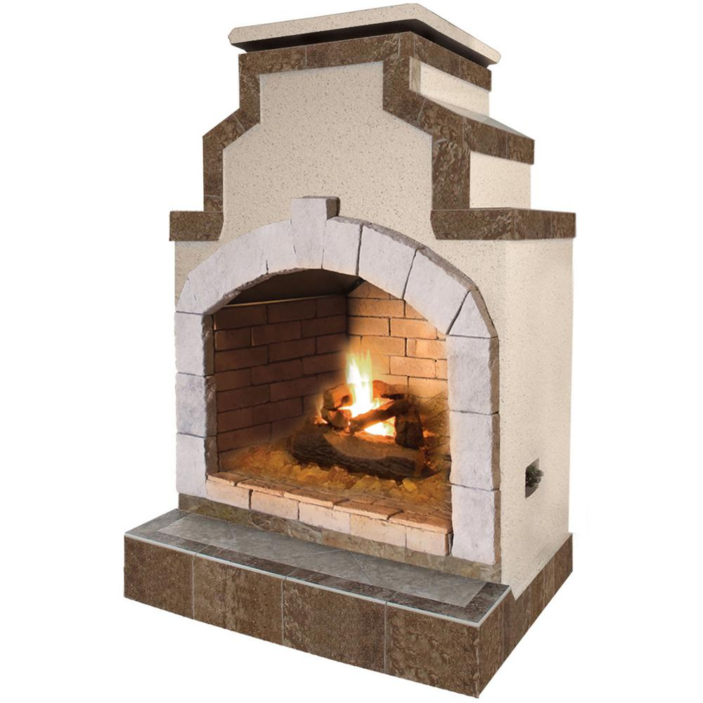 Fireplace Propane Heater Cal Flame 48 In Propane Gas Outdoor Fireplace In Porcelain Tile