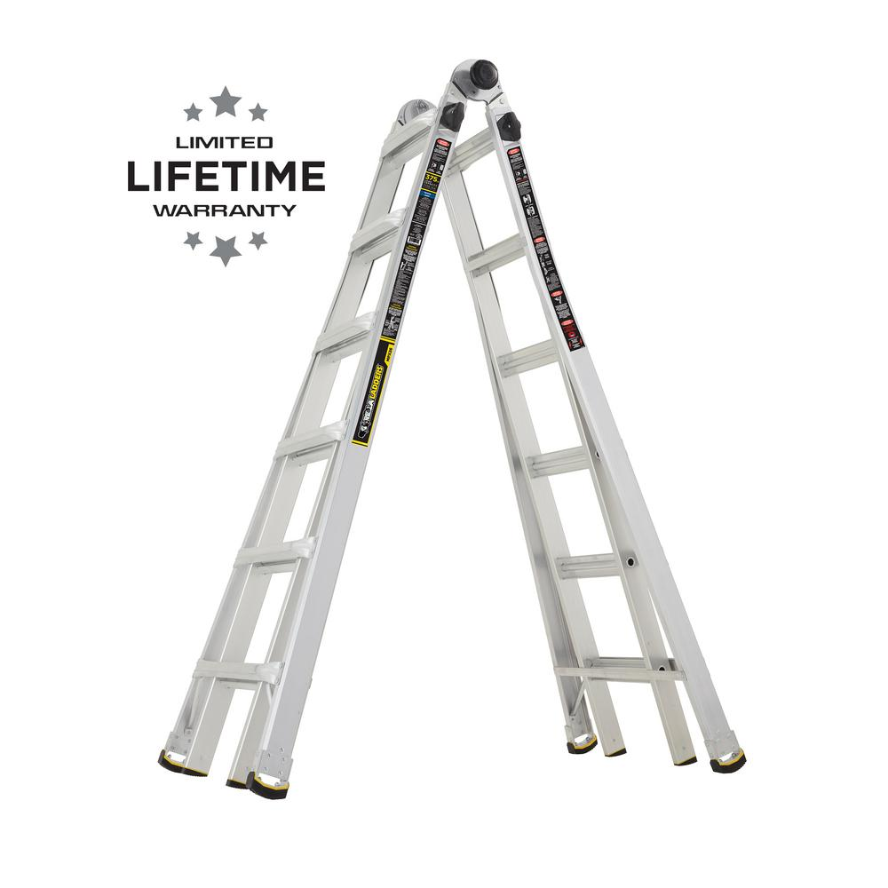 Werner Multiposition Ladder Multi Position Ft Aluminum Lb Gorilla Ladders 26 Ft. Reach Mpx Aluminum Multi-position