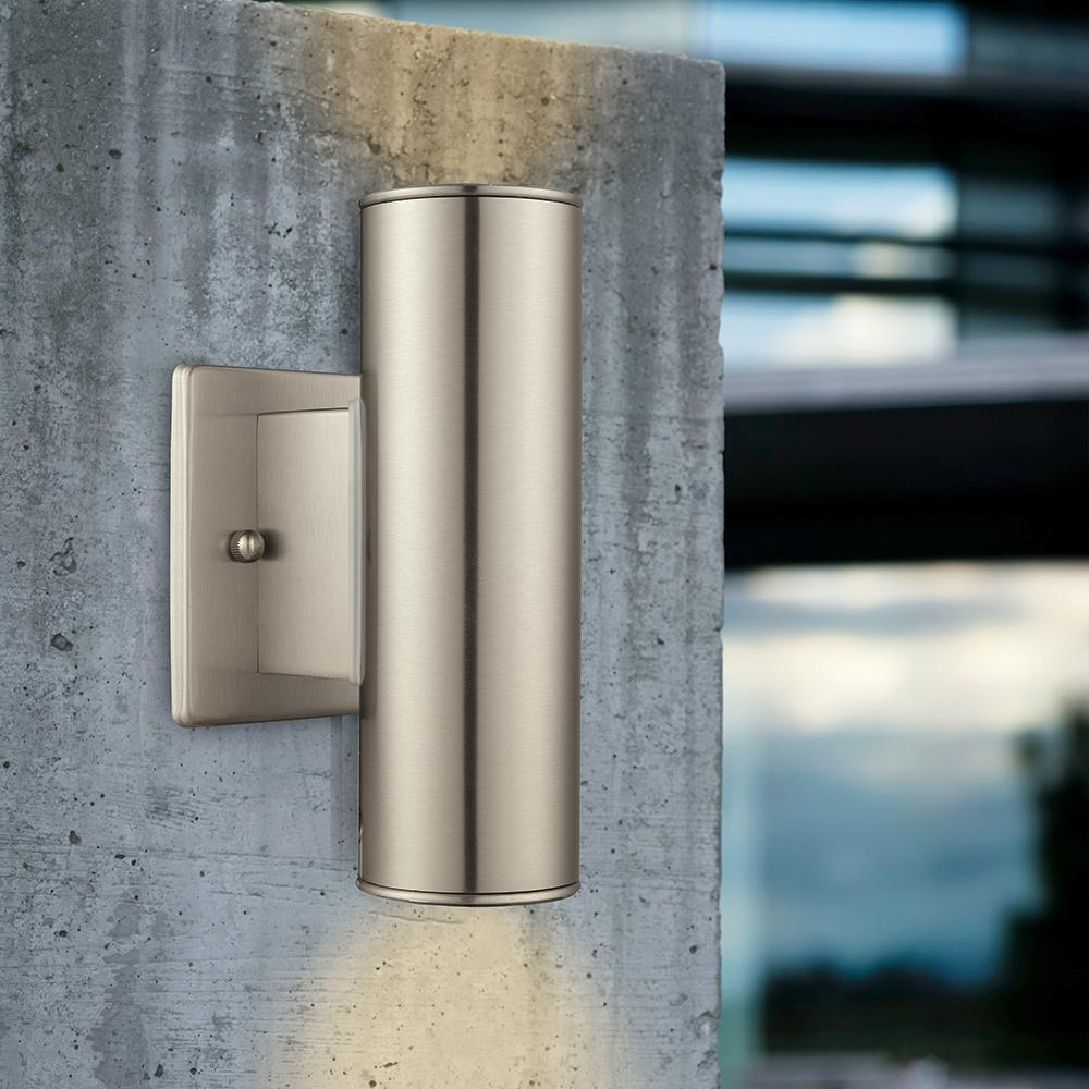 Eglo Riga Led Outdoor Wall Light Eglo Riga 2 Light Stainless Steel Outdoor Integrated Wall Lantern Sconce Cylinder