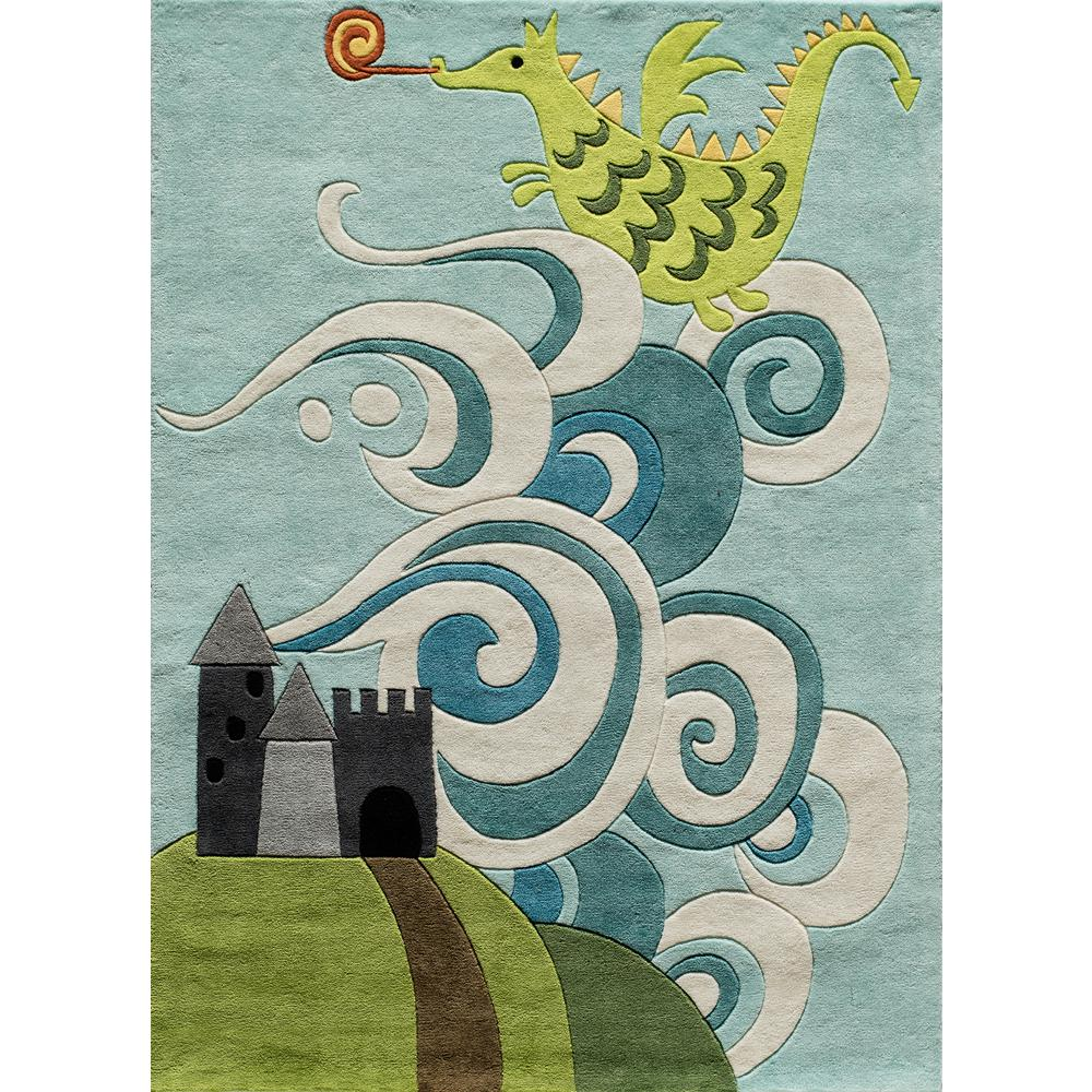 Rugs For Kids Momeni Lil Mo Whimsy Dragon Sky Blue 4 Ft X 6 Ft Indoor Kids Area Rug