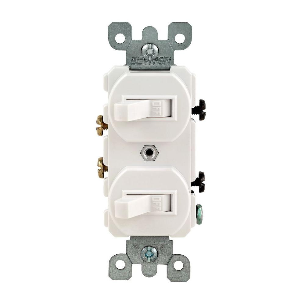 Switch Light Leviton 15 Amp Combination Double Switch White