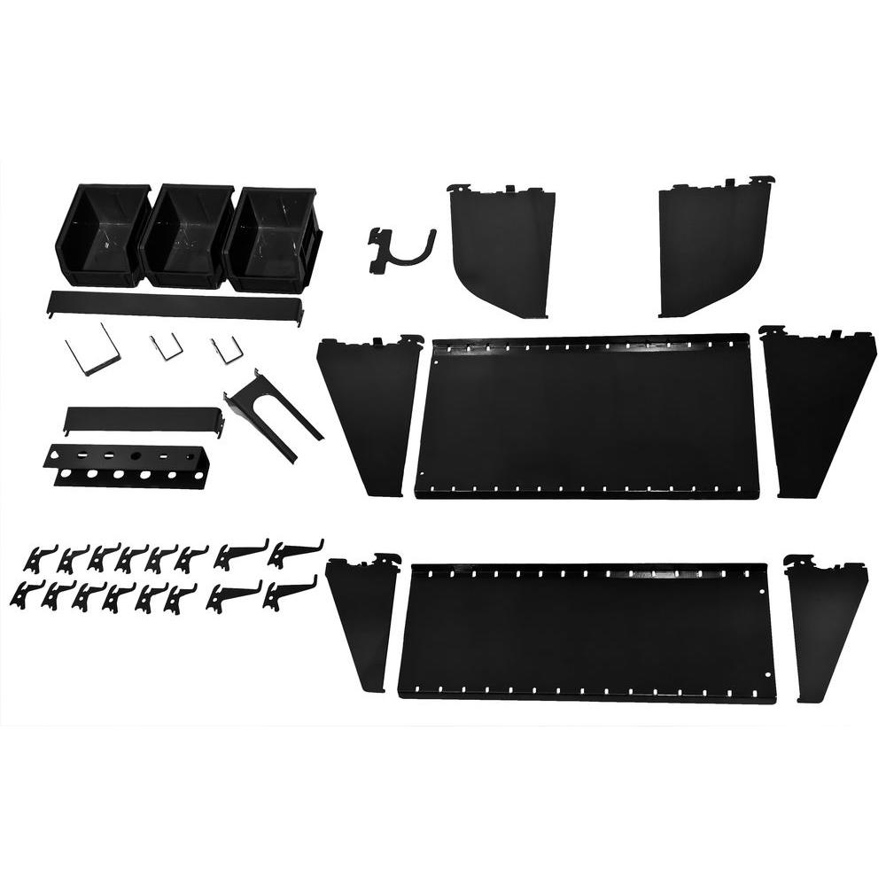 Peg Board Canada Wall Control 1 In Vertical Black Slotted Metal Pegboard Workstation Accessory Kit