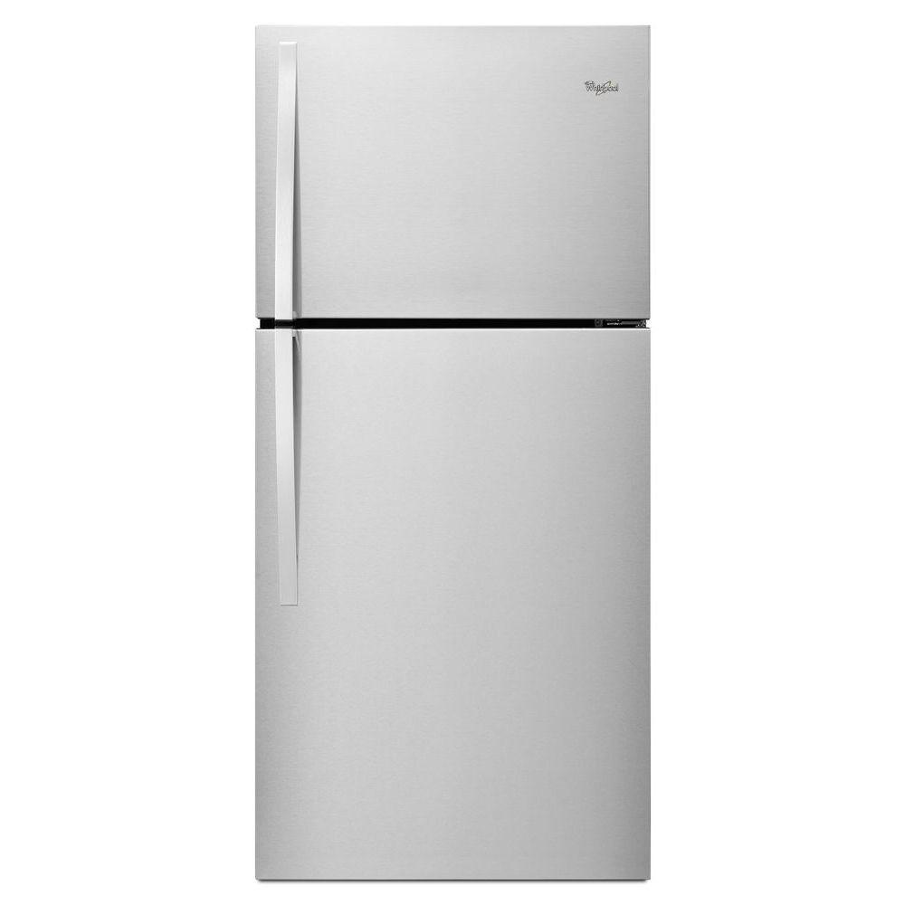 Whirlpool Appliances Canada Whirlpool 19 2 Cu Ft Top Freezer Refrigerator In Monochromatic Stainless Steel
