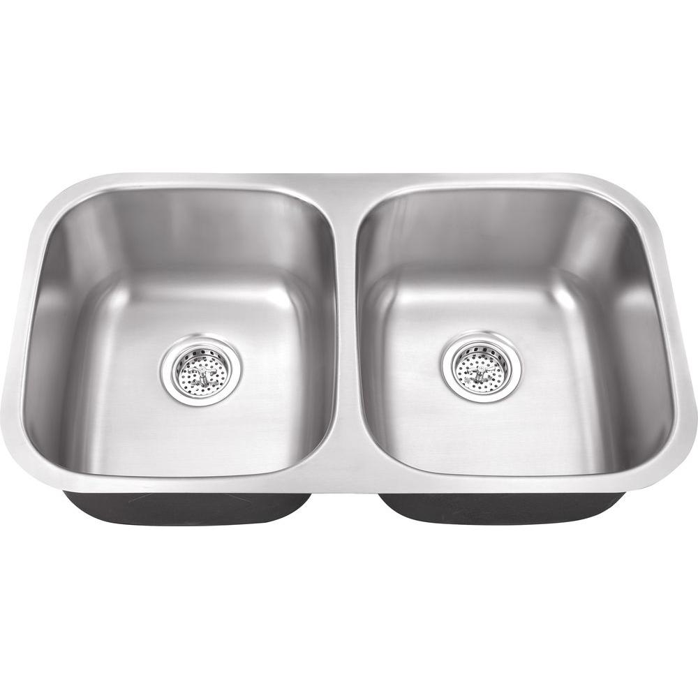 Belle Foret Farmhouse Sink Undermount Stainless Steel 32 In Hole Double Bowl Kitchen Sink