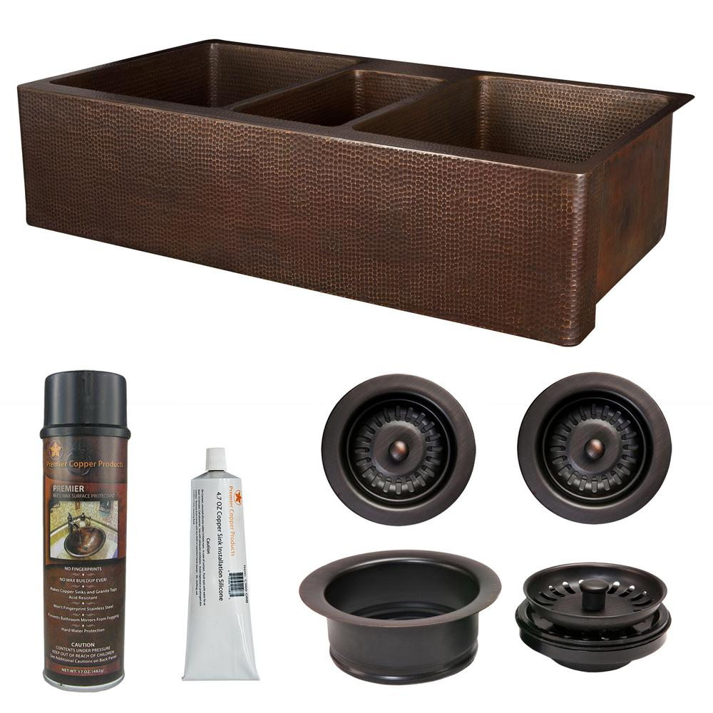 Katten Manden Premier Copper Products Copper 42 In Triple Bowl Kitchen Farmhouse Apron Front Sink And Drain In Oil Rubbed Bronze