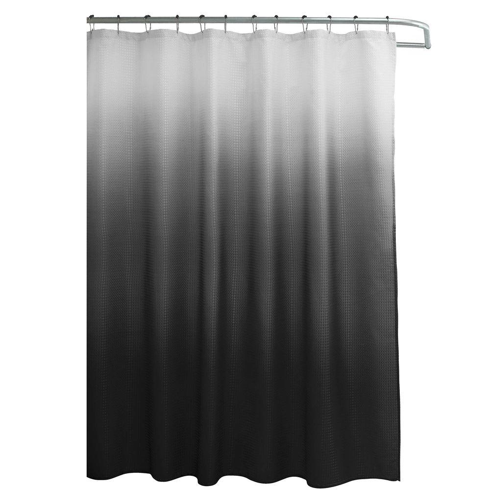 Red And Black Shower Curtain Set Creative Home Ideas Ombre Waffle Weave 70 In W X 72 In L Shower Curtain With Metal Roller Rings In Red