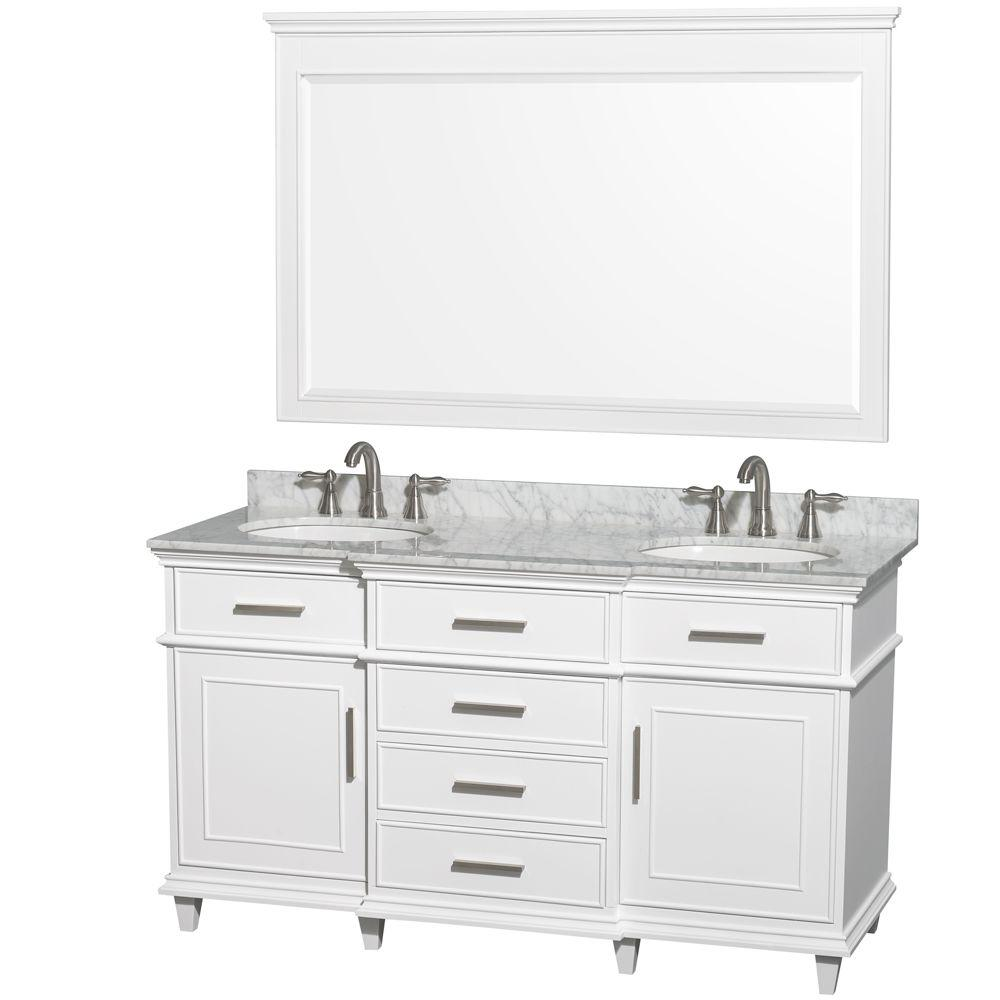 56 Bathroom Vanity Wyndham Collection Berkeley 60 In Double Vanity In White With Marble Vanity Top In Carrara White Oval Sink And 56 In Mirror