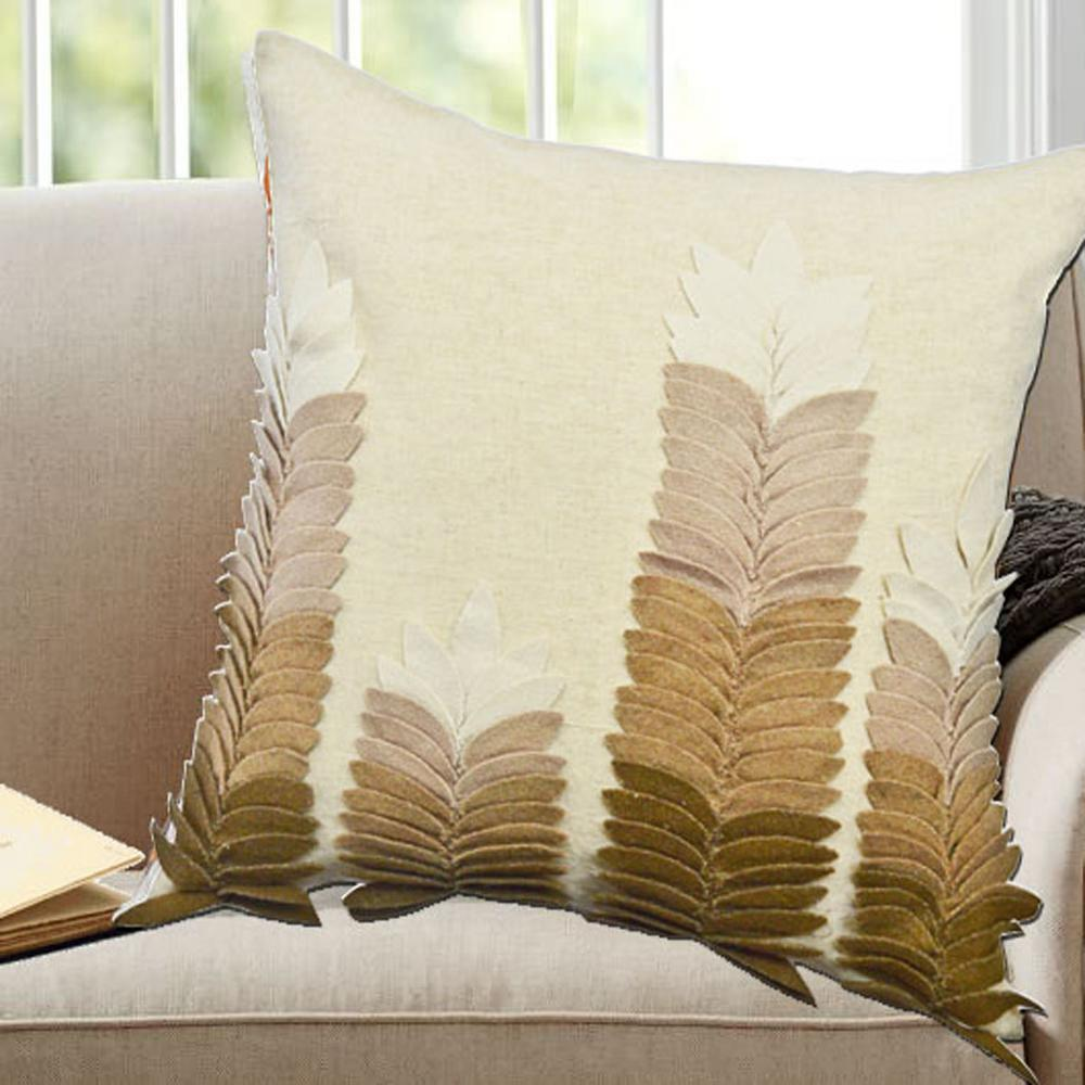 High Quality Sofa Pillows A1hc Leaves Appliqued Pillow 100 Beige Woolen Felt Decorative