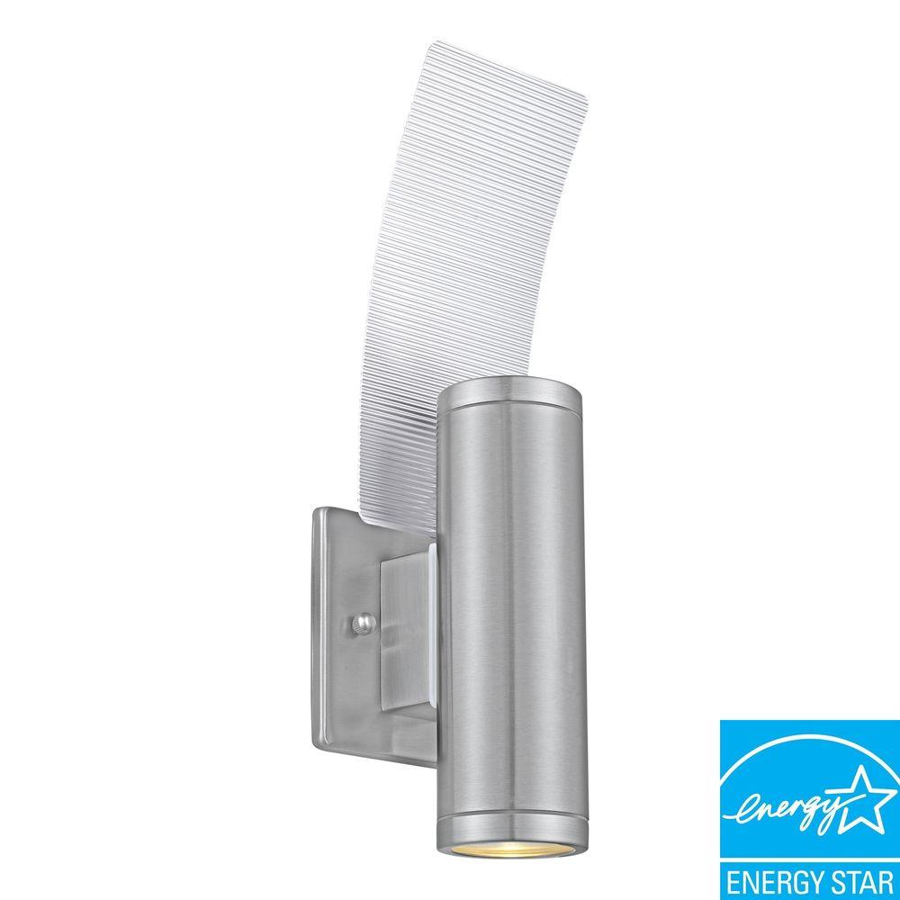 Eglo Riga Led Outdoor Wall Light Eglo Riga 2 Light Stainless Steel Outdoor Wall Mount Cylinder Wall Lantern Sconce