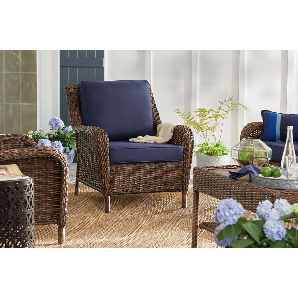 Outdoor Lounge Hampton Bay Cambridge Brown Stationary Wicker Outdoor Lounge Chair With Blue Cushions
