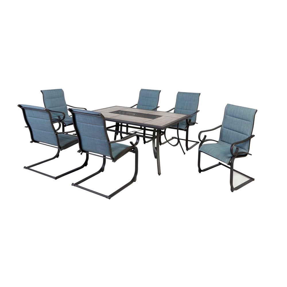 7 Piece Patio Set Patio Dining Sets Patio Dining Furniture The Home Depot