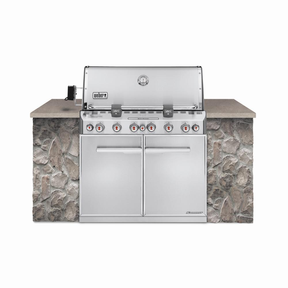 Flat Pack Outdoor Kitchen Summit S 660 6 Burner Built In Natural Gas Grill In Stainless Steel With Grill Cover And Built In Thermometer