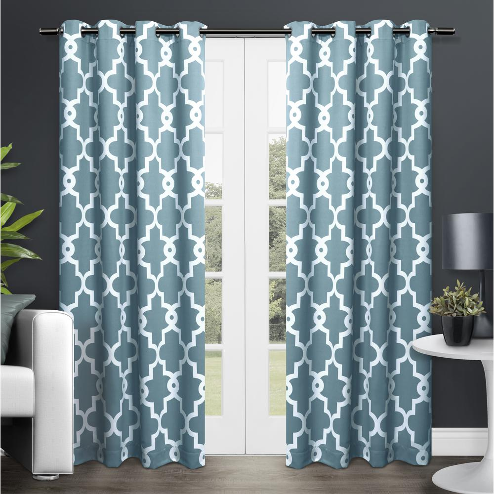 Teal Blackout Curtains Ironwork 52 In W X 84 In L Woven Blackout Grommet Top Curtain Panel In Teal 2 Panels