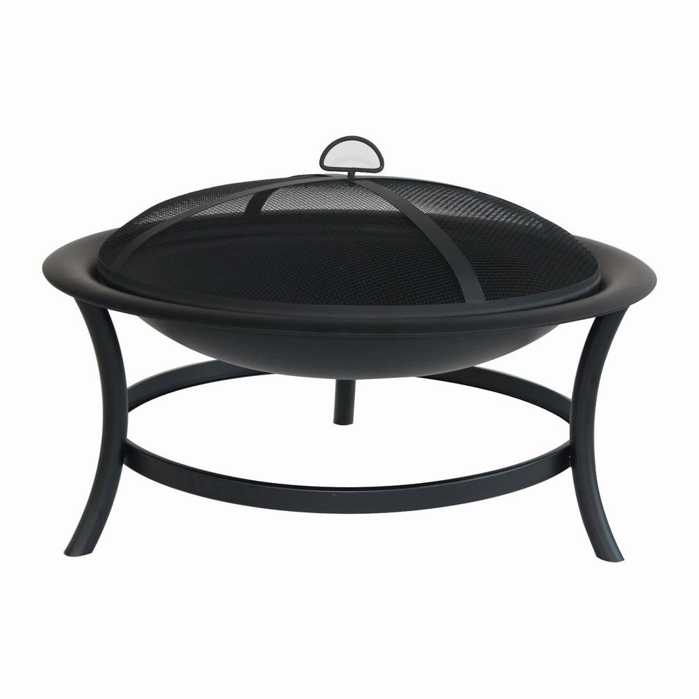Home Depot Fire Pit Hampton Bay 30 In Brookland Black Firepit