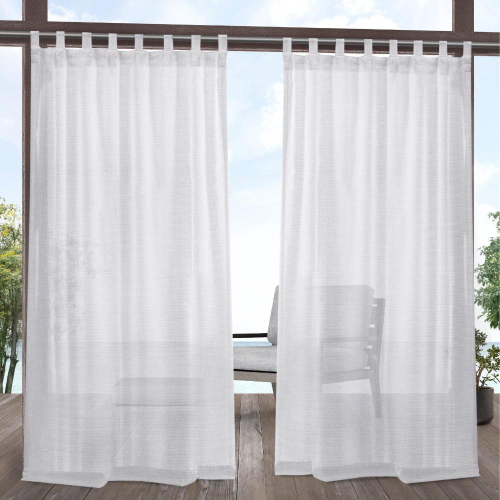 Tab Top Curtain Exclusive Home Curtains Miami 54 In W X 108 In L Indoor Outdoor Tab Top Curtain Panel In White 2 Panels