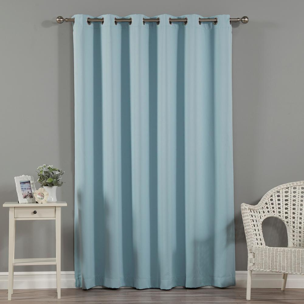 Teal Silver Curtains Best Home Fashion Wide Width Basic Silver 80 In W X 84 In L Grommet Blackout Curtain In Ocean