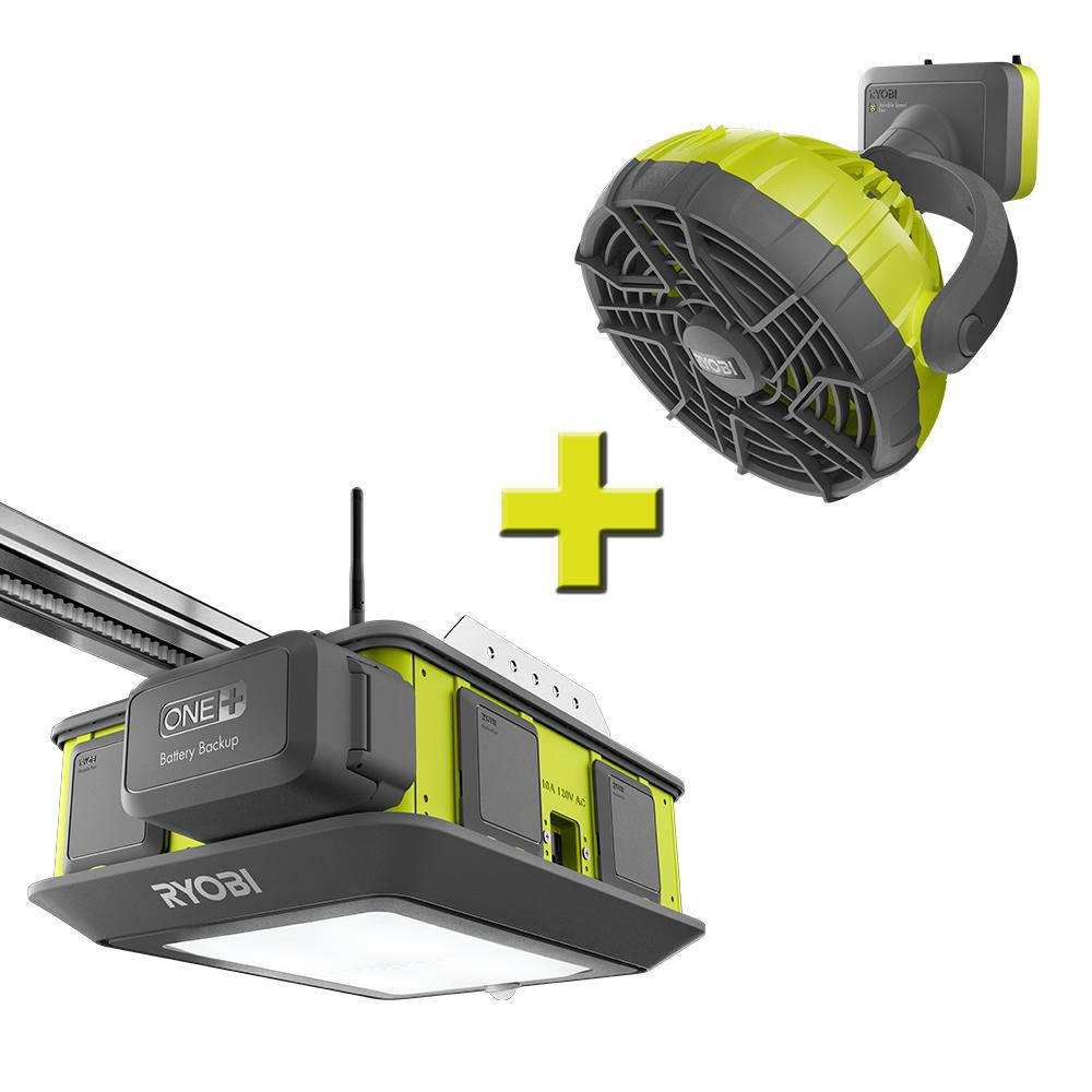 Ryobi Garage Door Fan Ryobi Ultra Quiet 2 Hp Belt Drive Garage Door Opener With Fan Accessory